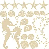 GRAZDesign Wandtattoo Badezimmer viele Farben - Bad Deko Tattoos Muscheln Seesterne Set - Maritime Dekoration Fliesentattoos mit Zwei Seepferdchen / 57x57cm / 300168_57x57_WT082