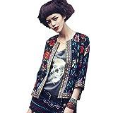 FeiXiang - Chaqueta para mujer, estilo retro, diseño floral, para exteriores, parca, abrigo, plástico, negro, extra-large
