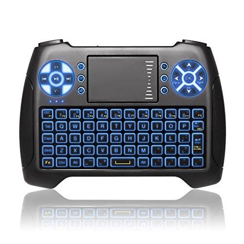 ANEWKODI T16 Mini Teclado Retroiluminado Teclado Inalámbrico con Touchpad Mini Keyboard de Juegos Controlador 2.4GHz Teclado Ergonómico con Ratón para Smart TV, PC, PAD, Google Android TV Box, HTPC, IPTV, XBOX, Soporta Windows 10