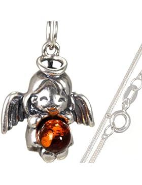 Mädchen Kinder Taufe Schutz Engel Bernstein Anhänger mit 40 cm Schlangenkette aus 925 Silber#568