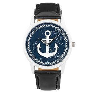 Taffstyle Quarzuhr mit PU Leder Armband und Anker in Maritim Vintage Style - Schwarz / Blau