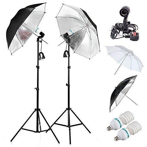 E27 Sockelhalter Dauerlicht Schirmst?nderset 2x85w E27 5500k Photograpy Studio Lichtst?nderschirm 32' Kit