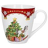 Van Well Kaffeebecher Weihnachtszauber, 530 ml Porzellan Glühweinbecher, große Kaffeetasse, XL-Becher, Weihnachtsmotiv