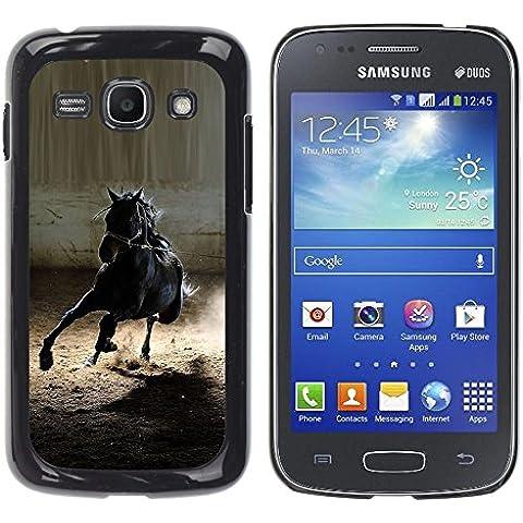 YOYOYO Smartphone protezione Difensore nero Duro Custodia Cover Case Per Samsung Galaxy Ace 3 GT-S7270 GT-S7275 GT-S7272 - cavallo mustang nero selvaggio stallion galoppo