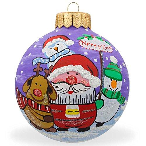 10,2cm Babbo Natale, renna, pupazzo di neve amici vetro palla di Natale ornamento