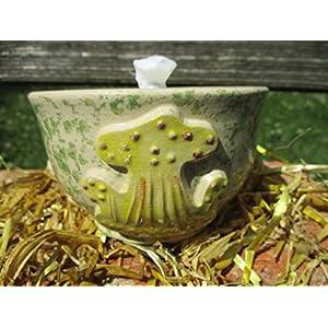 Kerzenfresser, Tischfackel, Kerzen Recycling, Gartenfackel, Flammschale aus Keramik, ca. 11x8 cm, zum Verwerten von Kerzen- und Wachsresten, mit windfestem Dauerdocht, handgefertigt
