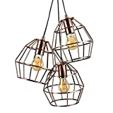 Retro Style 3 Way Brushed Copper Metal Basket Cage Pendant Ceiling Light Fitting