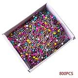 Mengonee 800 Piezas Grano de la Perla Hecha a Mano de la Costura de Costura Crafts Cabeza de la Bola de Acero Inoxidable Pernos Box
