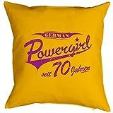 Kissen mit Geburtstagsmotiv - German Powergirl seit 70 Jahren - Zum 70. Geburtstag - Couch Kissen - Geschenk - gelb