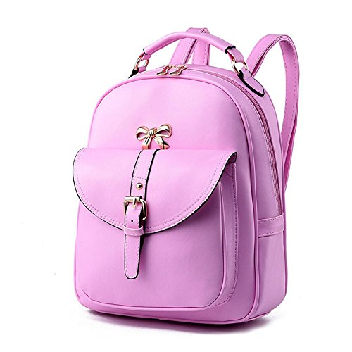 HQYSS Borse donna Coreana PU cuoio Casual Female Student zaino spalle , spell pink pink