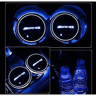JIanna LED Car Logo Cup Holder Pad 7 Colors Changing USB Charging Mat LED Cup Mat Car Atmosphere Lamp Decoration Lights 2PCS (AMG)