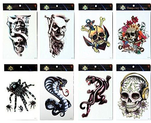 (Grashine Tattoo 8pcs mischt Halloween lange letzte und realistische Temp Tattoo Aufkleber in 1 Pakete, einschließlich Spinnen, Schlange schreckliche Schädel, Schädel mit Blumen und Leopard Tattoos)