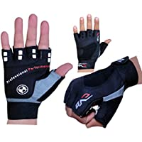 EVO Fitness Pure Leather Weightlifting Gloves Gym Neoprene Wrist Wraps Support Straps Wheelchair Cycling