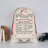 vahome Personalized Santa Sack Christmas Bag Canvas Bag for Gifts Santa Presents Bag with Drawstring for Stocking Presents (HK-24)
