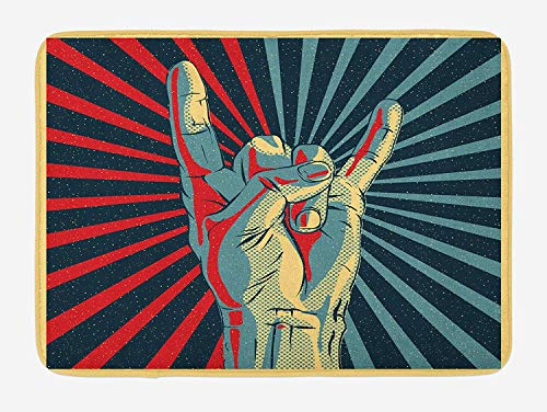 ARTOPB Music Bath Mat, Hand in Heavy Rocker Sign Musical Universal Gesturing Thunder Bolts Party People, Plush Bathroom Decor Mat with Non Slip Backing, 23.6 W X 15.7 W Inches, Multicolor -