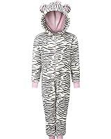 Animal Crazy Girls Supersoft Fleece Zebra Stripe Onesie Jumpsuit Playsuit