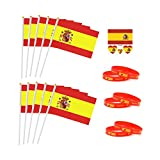 Jun - Pack de 10 banderas de mano de España con 10 mini pegatinas de silicona + 6 pulseras de fútbol, suministros de animación para 2018 Rusia Mundial Copa Fútbol Fans Fútbol Fútbol Fans Accesorios – España Fans España Stick Bandera