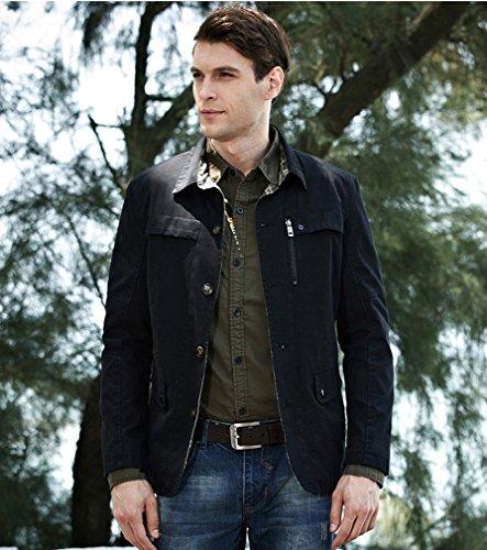 BININBOX® Herren langärmelige Jacke Windbreaker Baumwoll fashionable Arbeitjacke Windjacke Mantel Grün