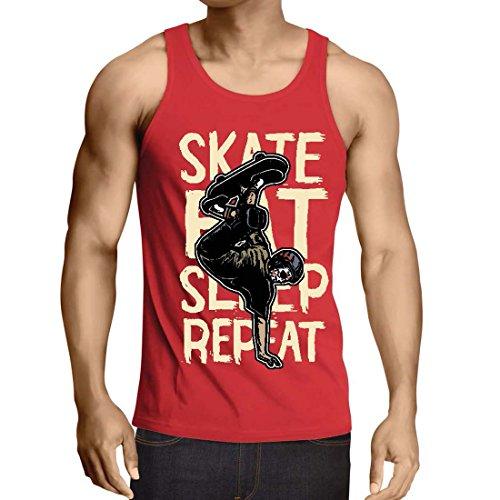 lepni.me Camisetas de Tirantes Para Hombre Eat-Sleep-Skate-Repeat Para el Amante del Monopatín, Regalos del Skater, Ropa Que Anda EN Monopatín (Medium Rojo Multicolor)