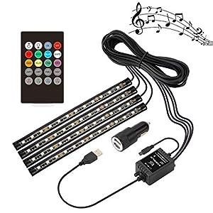 Speclux LED-Streifen-Lichter 48 LED Innenbeleuchtung Musik-Innenraum-Atmosphäre-Lichter RGB Streifen Licht, Stimmungslichter mit Sound Active-Funktion und drahtlose Fernbedienung für Auto-TV-Home