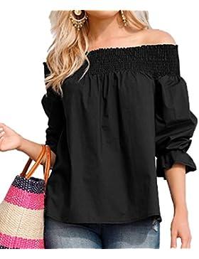 Verano Blusa Mujer Casual Camisetas Suelto Colores Lisos Blouses Camisas Tops Moda Cuello Barco Media Manga Corta...