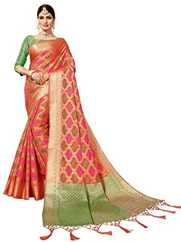 SOURBH Women's Art Silk Woven Patola Saree (6833_Orange)