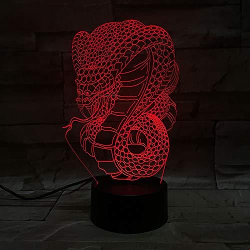 Schreckliche Viper 7 Farbe 3d Optische Täuschung Nachtlicht Touch Fernbedienung Led Nachtlicht Dekoration Licht Erstaunliche Optische Optische Täuschung