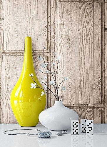 Holztapete Beige Grau Braun Edel , Schöne Edle Tapete Im Holzwand Design ,  Moderne Vertäfelung Optik Für Wohnzimmer, Schlafzimmer Oder Küche Inkl.