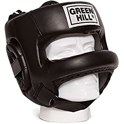 GREEN HILL CASCO DE BOXEO CASTLE PROTECCIÓN BARRA FRONTAL BOXING NEGRO (L)