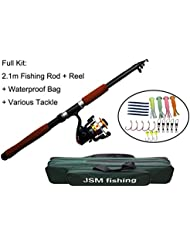 JSHANMEI ® Spin Spinning Rod and Reel Combos Portable Telescopic Fishing Rod with Reel Combo Sea Fishing Saltwater Freshwater Kit Fishing Pole Rod Set (Singel Fishing Bag) by JSHANMEI