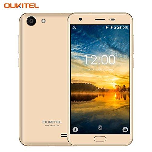 Günstiges Handy, Oukitel K4000 Plus 4g Dual Sim Smartphone Ohne Vertrag 5.0 Zoll 4100mAh großem Akku Android Handy mit fingerabdrucksensor, 13.0MP Hauptkamera, 2GB RAM+16 GB ROM, Bluetooth -Gold