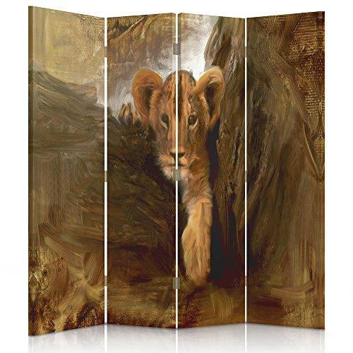 Dekorative Paravents (Feeby Frames. Raumteiler, Ggedruckten aufCanvas, Leinwand Wandschirme, dekorative Trennwand, Paravent beidseitig, 4 teilig (145x150 cm), Afrika, LÖWENJUNGES, Baum, BRAUN, ORANGE, Eindruck)