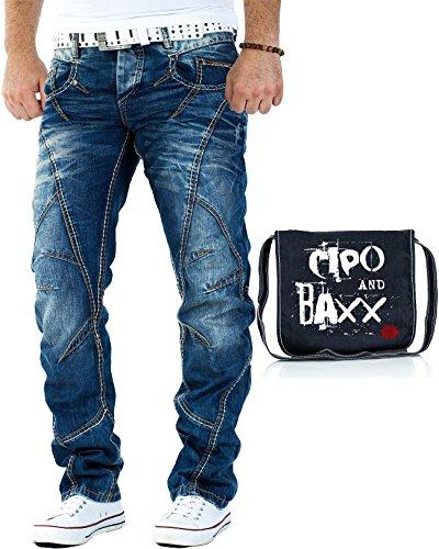 Cipo & Baxx Herren Jeans C894 inkl. Tasche W34/L34 (Jeans Cool Verwaschene)