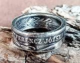 Coinring, Münzring, Ring aus sehr alter Münze (1 Krone Österreich/Ungarn von 1915), 835er Silber - Double Sided coin ring - Größe 52 (16.6), handgeschmiedetes Unikat