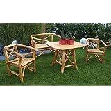 Gartengarnitur ROSSBACHTAL 4 tlg, Eichen-Rundholz (Knüppelholz), 2x Sessel 1x Bank 2 Sitzer 1x Tisch