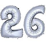 DekoRex® Folienballon Zahlenballon Luftballon Geburtstag Deko 80cm Zahl Silber 26