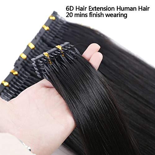 6D Haar Erweiterungen Maschine Mensch Haar zum Verbindung Haar Verbindung Schnalle Clip Am schnellsten Keine Spur Haar Erweiterung im Salon Ausrüstung,Black,B24inches -