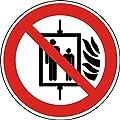 Aufkleber Aufzug im Brandfall nicht benutzen 10 cm Folie gemäß DIN 7010 (Brandschutz, Verbotsschild)