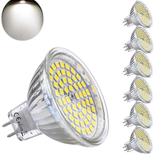 MR16 GU5.3 LED Blanc Naturel 4000K 12V 5W Ampoule Equivalent à 35W Halogène Lampe 420 Lumen Douille Spot 120°Faisceaux Non-dimmable Ø50 x 48 mm (Lot de 6)