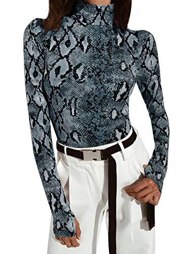 arm Bodysuit Schlange Muster Langarmshirt Rollkragen Jumpsuit Slim Playsuit Clubwear Schlank Overalls B Blau DE 38 ()