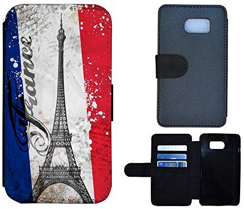 Flip Cover Schutz Hülle Handy Tasche Etui Case für (Apple iPhone 4 / 4s, 1176 Giraffe Animiert Braun Weiß) 1178 Paris Eifelturm Frankreich Blau Weiß Rot