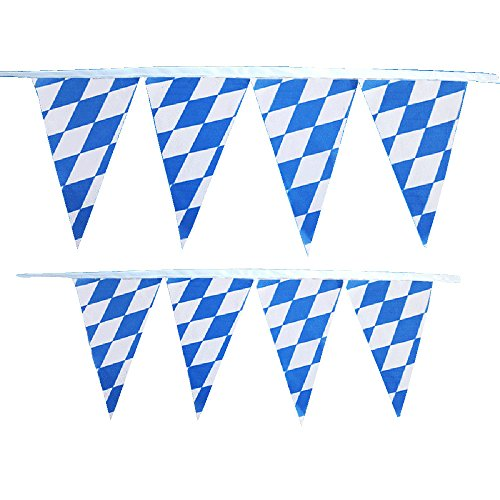 Kostüm Muster Jäger - ToDIDAF Oktoberfest 10m 30 Stück Fahnen, Seppelhut Blue White String Flag Früher Dekorative Dreieckfahnen, für Party Karneval Dekoration