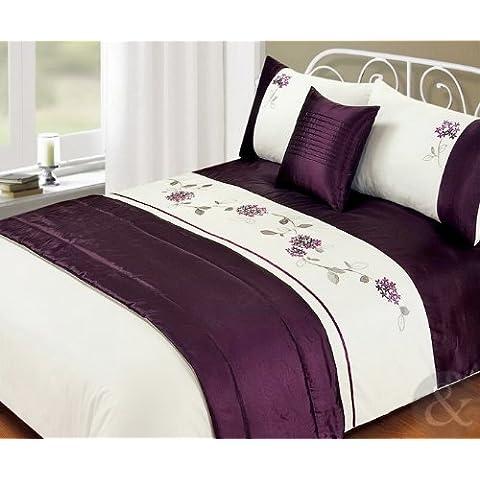 Just Contempo - Juego de funda nórdica (incluye fundas para almohadas, pie de cama y funda para cojín), diseño de flores bordadas, color blanco y azul, poliéster, Leila - berenjena/rosa/crema, juego de cama doble King