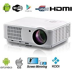 Full HD Vidéoprojecteur WiFi sans Fil Android Intelligent vidéo projecteur Full HD Home cinéma 1080P LED vidéo projecteur HD 4000 Lumen Vidéoprojecteur 7000:1 vidéo projecteur 3D