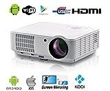 1080P LED Beamer Full HD 4000 Lumen Full HD Beamer Heimkino HDMI Android WIFI Beamer LED mit HDMI USB VGA RCA ATV Wurfdistanz 1,5-7,5m Bildgröße 60-200 Zoll Unterstützung Airplay Miracast