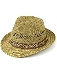 Straw trilby sun hat with lattice pattern band detail