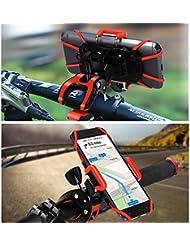Fahrrad Handyhalterung,iCozzier Drehbar Halterung Fahrradlenker & Motorrad Halterung für iPhone, iOS, Android Smartphones, GPS, und andere kompatible Geräte (rutschfester Klammer, 360 Grad drehbar , Gummistreifen)