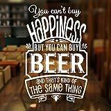 Non puoi comprare la felicità, ma puoi comprare birra citazione wall sticker vinile birreria pub negozio finestra decorazione decalcomania smontabile murale 57x89 cm
