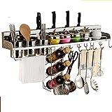 Mangeoo Estantería de cocina multifuncional _ 304 cuchilla de acero inoxidable cocina especiero rack,50 vino del vaso único titular