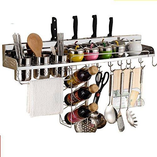 Mangeoo Küche shelf_multifunktionale 304 Edelstahl Messer Küche Spice Rack Rack, 60 Doppel Gläser mit Wine Rack Drehen Spice Rack